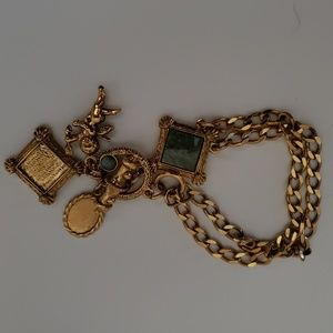Vintage charm bracelet gold colored green stone